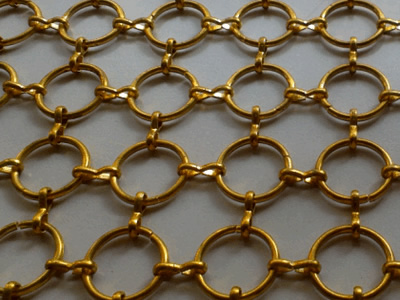 Ring mesh curtain is connected by 8 shaped ferrule.