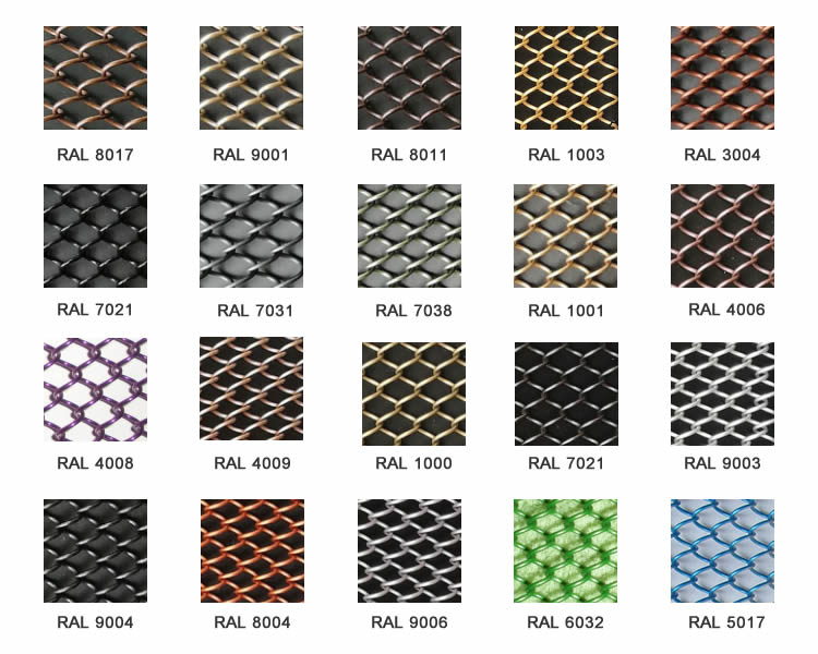 Flexible mesh curtain with twenty different colors.