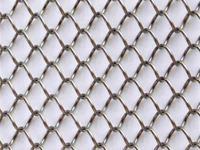 Flexible mesh curtain with stainless steel wires on the white background.