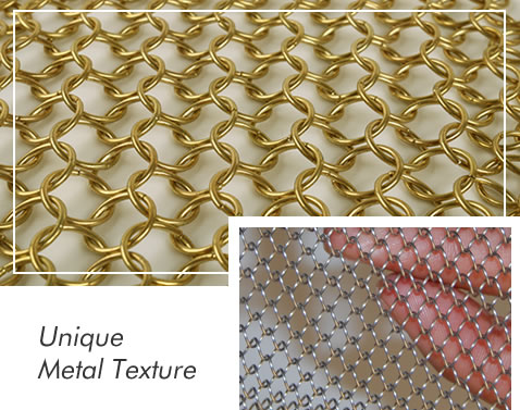 Details about ring mesh curtain sample and metal coil curtain sample.