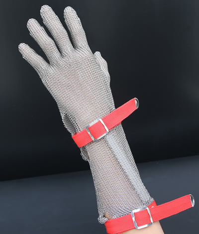 A five-fingers stainless steel mesh glove with extended cuff has two red straps and metal buckles.