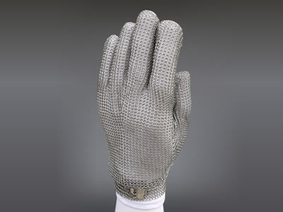 A five-fingers short stainless steel mesh glove with a stainless steel hoop strap.