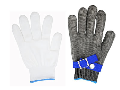A five-fingers stainless steel mesh glove and a common white wool gloves on the white background.